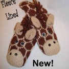 ADULT GIRAFFE MITTENS Brown / Tan HAND KNIT Fleece Lined animal shaped gloves