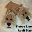 ADULT LION MITTENS Fleece Lined KNIT puppet LEO King of the Jungle YARN mane