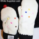 ADULT VANILLA CUPCAKE  MITTENS Fleece Lined KNIT puppet Cherry cup cake Ladies Womens COZY warm