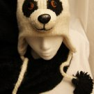 *SPECIAL* Panda Hat knit bear ADULT Fleece Lined beanie Furry Ears Halloween Costume
