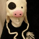 Adult HAMPSHIRE PIG HAT hamshire animal CAP Fleece Lined BLACK AND WHITE 4h COUNTY FAIR Costume