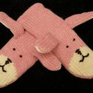 ADULT PINK BUNNY RABBIT MITTENS knit Fleece Lined SOFT wool warm delux
