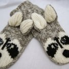 ADULT Raccoon MITTENS knit Light gray FLEECE LINED Ricky Rikki Tikki