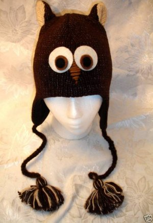BROWN OWL HAT knit ski cap ADULT Costume FLEECE LINED barn hoot BIRD LOVER