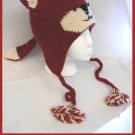 RED FOX HAT knit animal costume ski cap ADULT red squirrel woodchuck Mens Womens