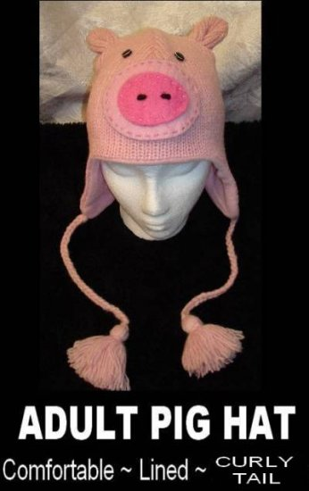 PIG HAT Pink KNIT ski cap PIGGY Piglet Lined Halloween COSTUME one size fits most Apparel Lover