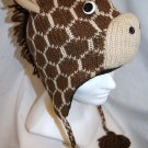 ADULT GIRAFFE HAT knit brown tan Black FLEECE LINING Halloween Costume cap