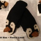 PENGUIN MITTENS knit FLEECE LINED mens womens ICE HOCKEY SKATING puppet delux
