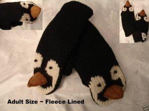 PENGUIN MITTENS knit FLEECE LINED mens womens ICE HOCKEY SKATING puppet delux