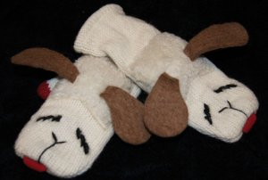 WHITE LAMBCHOP MITTENS Lined ADULT puppet Hand MITTS Lamb Chop NEW animal