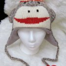 SOCK MONKEY HAT Adult Classic online web wear BUY HERE Soft Lined Fleece Knit ski Cap Costume CUTE!