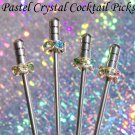 4 Swavorski Crystal Stainless Steel Olive Martini COCKTAIL PICKS Swarovski Pink Blue Green Purple