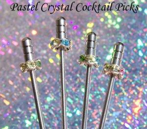 4 Swavorski Crystal Stainless Steel Olive Martini COCKTAIL PICKS Swarovski Pink Blue Green Purple