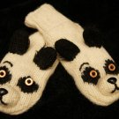 PANDA BEAR MITTENS black white ADULT animal mitts COSTUME comfy cozy warm GIFT men women
