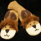 LION MITTENS knit animal  ADULT wool fleece lining mens womens unisex COMFY