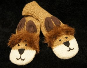 LION MITTENS knit animal  ADULT wool fleece lining mens womens unisex puppets