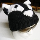 BADGER HAT Knit RIGID EARS halloween costume cap BLACK SKI CAP football Billy the badger