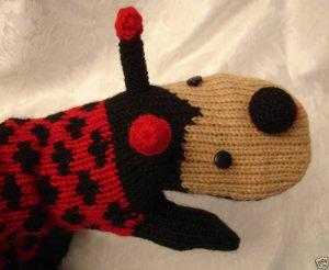 LADYBUG MITTENS knit ADULT animal fleece lining Matching Hat sold separate