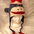 BLUE SOCK MONKEY Hat KNIT ski cap Fleece Lined  ADULT animal Halloween Costume classic