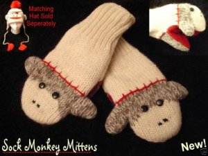 GRAY CUTE SOCK MONKEY MITTENS knit PUPPET wool ADULT animal matching delux hat sold separate