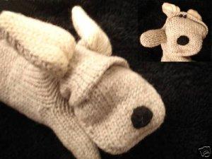 GRAY DOG MITTENS FOR MEN WOMEN puppet FLEECE LINED knit Vintage delux animal