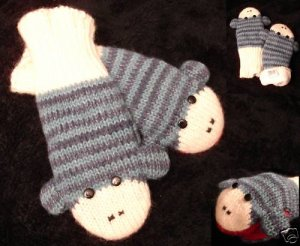 STRIPED BLUE CUTE SOCK MONKEY MITTENS knit ADULT puppet  animal matching hat separate