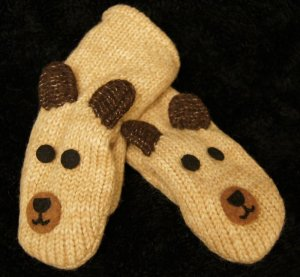 BROWN BEAR MITTENS comfy fleece lined ADULT mens womens delux knitwits puppet