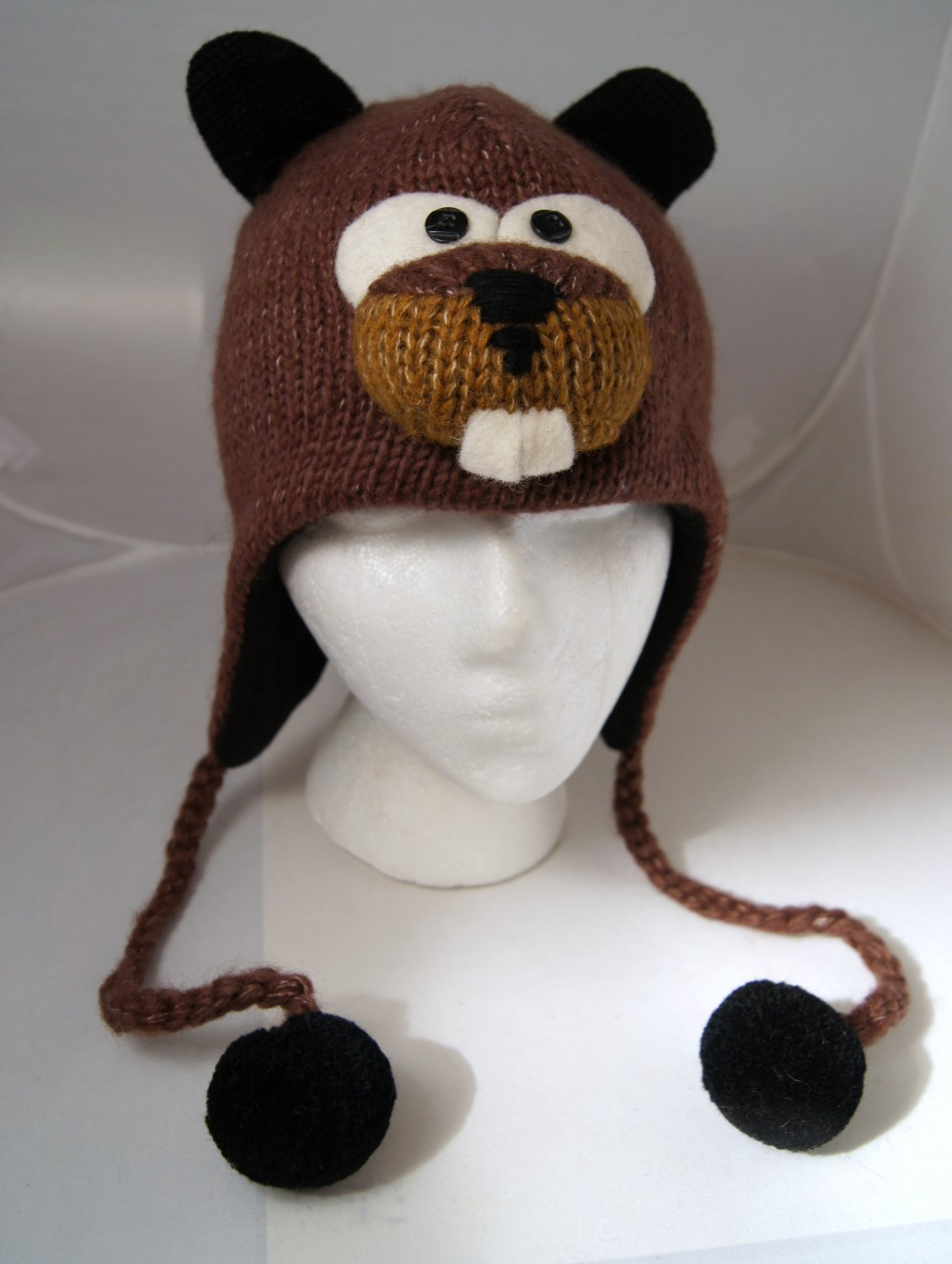 deLux  Tag BEAVER HAT ski cap ADULT SIZE Cable Knit with face mask teeth black ball COSTUME