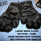 MENS Large Furry PAW Mittens Brown bears cubs HAND USE paws Halloween costume THINSULATE