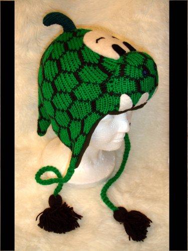 DINOSAUR Hat knit ski cap godzilla Halloween costumeLined green dragon dino delux