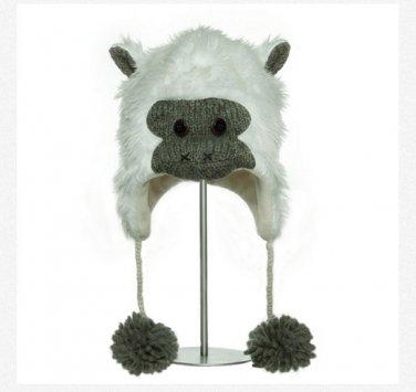 WHITE GORILLA ape monkey Hat knit cap unisex Halloween costume Lined sasquatch yeti animal delux