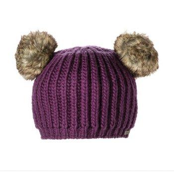 PURPLE KNIT HAT poms animal cap mens womens Halloween costume FLEECE Lined delux