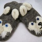 Gray SIBERIAN HUSKY MITTENS white furry accents ADULT