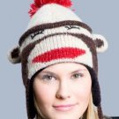 SLEEPY SOCK MONKEY HAT Soft ADULT ONE SIZE Lined Fleece Knit ski Cap delux TAG  knitwits