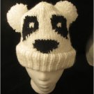 PANDA BEAR HAT knit ladies pom POMS ski cap winter toque SOFT & COMFY Big Poms