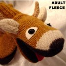ADULT DEER MITTENS Fleece Lined KNIT puppet MENS WOMENS COZY reindeer antlers