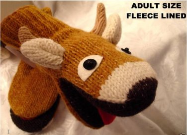 ADULT DEER MITTENS Fleece Lined KNIT puppet MENS WOMENS COZY reindeer antlers