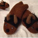 ADULT BUFFALO MITTENS Fleece Lined KNIT puppet MENS WOMENS COZY bison bills brown