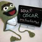 Adult Oscar Costume Hat KNIT Fleece Lined Scram Grouch ski cap green SESAME STREET delux