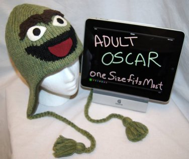 Adult Oscar the Grouch HALLOWEEN Costume Hat KNIT Fleece Lined green SESAME STREET delux