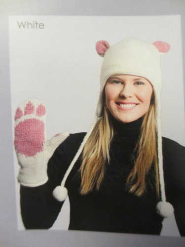 CAT MITTENS white knit FLEECE LINED pink paws bear Halloween costume kitty