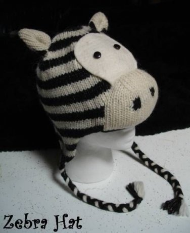 ZEBRA Hat knit ski cap mens womens Halloween costume Fleece Lined ANIMAL delux