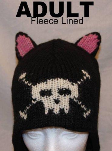 BLACK CAT HAT knit ski cap ADULT ears Soft FLEECE LINED Halloween Costume