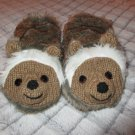 ADULT Hedgehog MITTENS knit brown FLEECE LINED hedghog possum mole