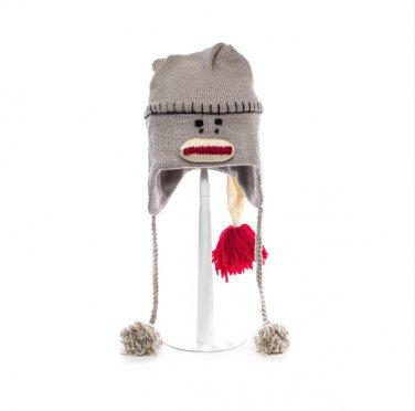 LONG SLEEPING CAP SOCK MONKEY HAT  Adult Night cap gray Soft Lined Fleece Knit ski Cap grey