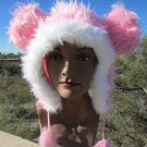 PINK  MOUSE EARS HAT fun furry fuzzy big mickey animal Halloween costume
