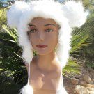 WHITE MOUSE EARS HAT fun furry fuzzy big mickey animal costume
