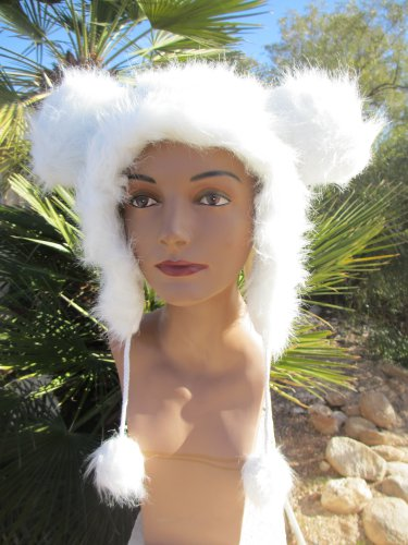 WHITE MOUSE EARS HAT fun furry fuzzy big mickey animal costume