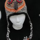 ARTISTIC OWL HAT knit ski cap ADULT Costume FLEECE LINED barn hoot BIRD LOVER