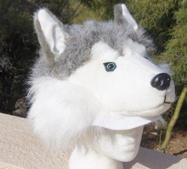 DOG HAT Siberian Husky Sled Alaskan Malamute plush fake fur MUSHING mask cap Adult HALLOWEEN COSTUME